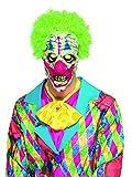 costumebakery - Kostüm Accessoires Zubehör Bunte UV-Black Light Horror Clown Maske mit Haaren, perfekt für Karneval, Fasching und Fastnacht, Weiß