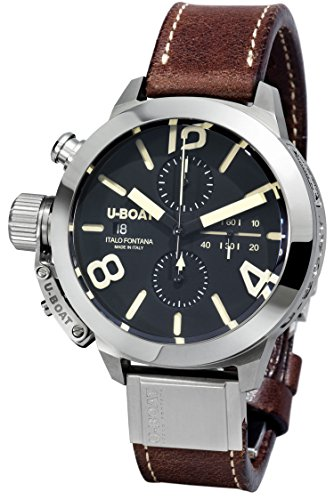 U-Boat - Orologio automatico, da uomo, quadrante nero con cronografo e cinturino in pelle marrone 7430/A