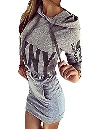 Bigood Sweat-shirt à Capuche Mini Robe Femme Pull Imprimé Manche Longue Pull-over Sport Casual