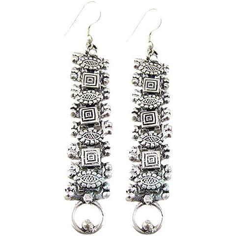 ORECCHINI moda per donne degli orecchini 925 ARGENTO OSSIDATO OVERLAY CIONDOLA - Black Pearl Ciondola Gli Orecchini