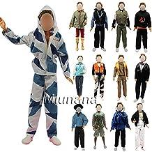 Miunana 5 sets Fashion Ropas Abrigo Chaqueda Traje Camisa Pantalones Vestir Fiesta Partido Camisa de Manga Larga + Pantalones Moda Ropa Casual para Novio Ken Príncipe Muñeca Barbie