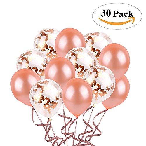 Miigo 30 Stück 12 Zoll Latex Luftballon Konfetti Luftballons Folienballon in Rosegold für Hochzeit Geburtstag Baby-Dusche Schminke Kostüm Dekorationen Party Zeremonie