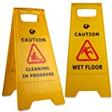 A Frame Wet Floor & Cleaning In Progress Warning Hazard Sign - Comes With TCH Anti-Bacterial Pen! by TheChemicalHut