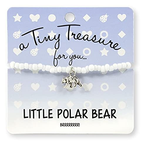 Little Polar Bear White Coloured Glass Beads and Metal Polar Bear Charm Tiny Treasure Gift Birthstone Bracelet Snow and Ice Iceberg