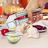 Melodi Stainless Steel Garlic/Ginger Hand Presser, Crusher, Masher Kitchen Tool, Silver (20 X 4 X 7 Cm.)