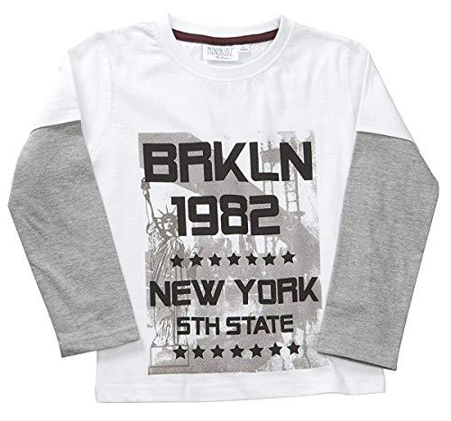 Enfant Garçon T-shirt Longues Manches Imprimé Graphique Coton Haut Âges 2-6 NEUF - Blanc, 3-4 Years