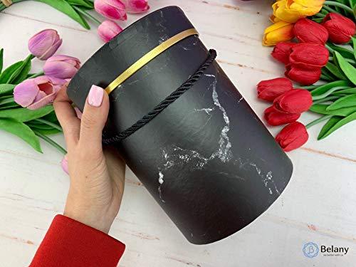 VIPOLIMEX Runde Blumenboxen mit Kordel, Aufbewahrungsbox mit Deckel, unifarbene Hutschachtel, Geschenkboxen, personalisierbar (Marmor eine Box)