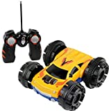 Click n' Play Double sided Tumbling Stunt Rolling RC Remote Control Car - 360° Spin and Lighting