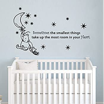 Wall Decals Quotes Winnie The Pooh Quote   Sometimes The Smallest Stars  Moon   Kids Baby Childrens Room Bedroom Nursery Dorm Vinyl Sticker Wall  Decor Murals Part 53