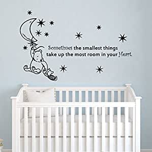 stickers muraux citations de winnie l 39 ourson citation parfois la plus petite etoiles sont lune. Black Bedroom Furniture Sets. Home Design Ideas