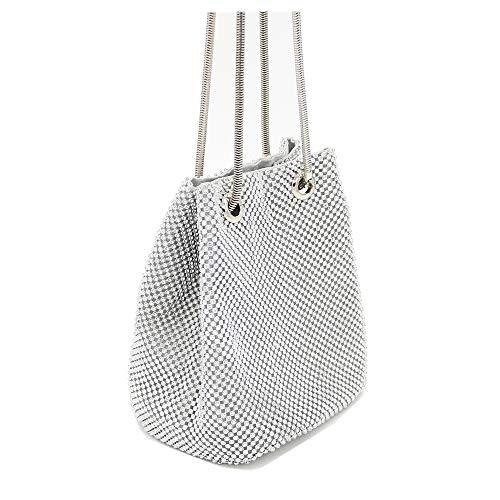 MMYOMI Clutch Frauen Strass Soft Abendtasche Schultertasche Tote Geldbörsen Handtaschen (Silber)