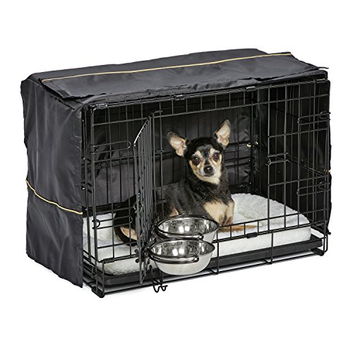 Dog Crate Starter Kit | One 2-Door iCrate, Pet Bed, Crate Cover & 2 Pet Bowls | 22-Inch Ideal for XS Dog Breeds -