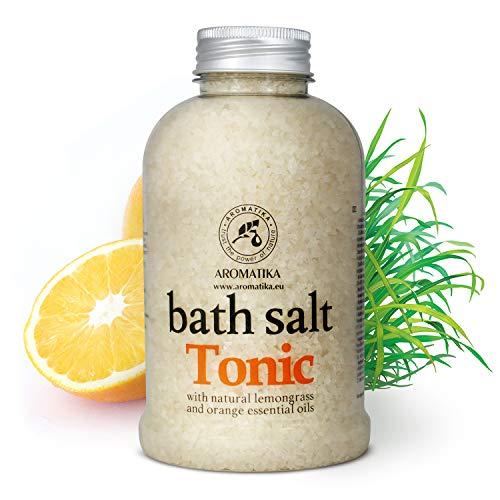 Meersalz Badesalz mit Natürlichem Ätherischen Zitronengrasöl & Orangenöl 600g - Besten für Guten Schlaf - Stressabbau - Baden - Körperpflege - Wellness - Schönheit - Entspannung - Aromatherapie