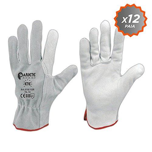 Confezione da 12 guanti in fiore di vitello bianco orlato con dorso in crosta taglia 10