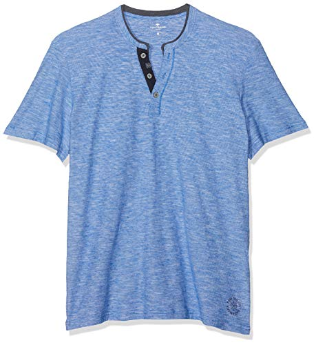 TOM TAILOR Casual Herren Basic Baumwoll Henley T-Shirt, Blau (Simply Blue Yarndye 16053), Medium -