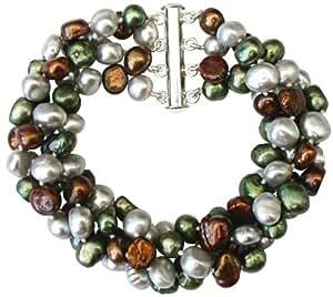 Gros bracelet à quatre rangs en perles de culture d'eau douce baroques Vert/Gris Argent/Marron avec fermoir en argentcarte cadeau.