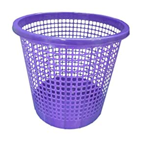 Plastic waste paper basket bin kitchen office bathroom in for Purple bathroom bin