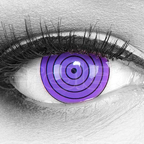 Farbige Mini Sclera Halloween Kontaktlinsen 'Violet Rinnegan' - 17mm MeralenS Horror Lenses inkl. Behälter - 1Paar (2 Stück)
