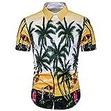 Rawdah Chemise à Manches Courtes Mode Men's Hawaïenne Chemise Impression t-Shirt Sport Manches Courtes Tees Blouse Haut Supérieur Blouse Top Pour Hommes (XL, Jaune)