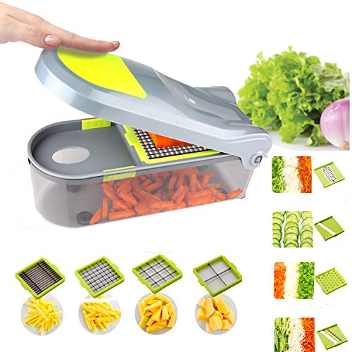 Kalokelvin Gemüseschneider mit 9 Austauschbare Klingen - Gemüse Schneider Würfel Hobel - Gemüsehobel Set mit Edelstahl Klingen - Zerkleinerer Multischneider 15 Teile (1500ML)