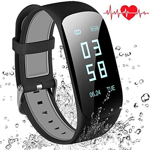 Fitness Tracker d'Activité Montre Connectée Moniteur fréquence de sommeil cardiaque Podomètre Bluetooth écran tactil pour Android iOS