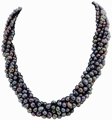 Grossa collana a sei fili con sensazionali perle barocche nero/pavone coltivate d'acqua dolce con fermaglio a baionetta in argento 925