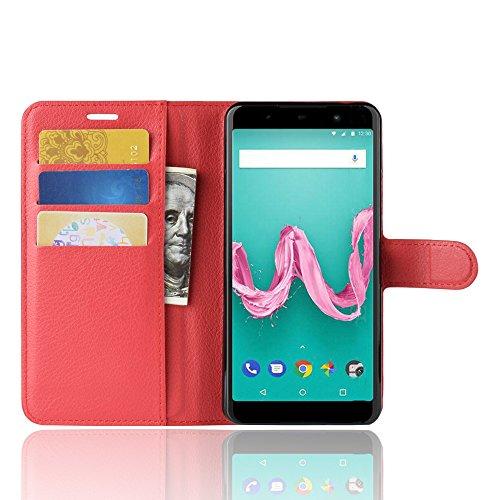 MIFanX Wiko Sunny 3 Hülle,Flip Geldbörse mit [Kartensteckplätzen] Schutzhülle Cover für Wiko Sunny 3(Rot)