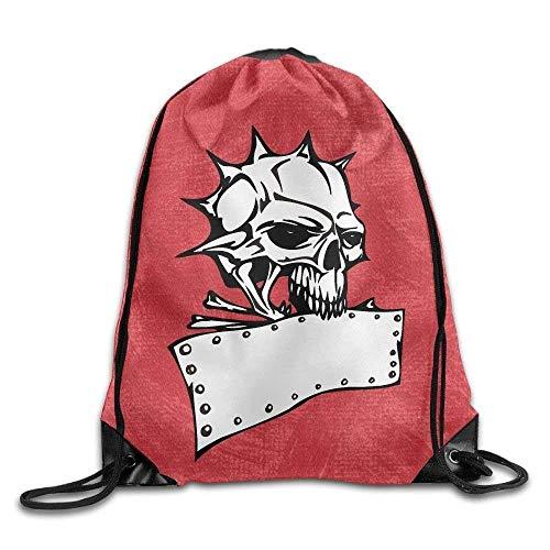 Naiyin Skeleton Men Women Sport Gym Sack Drawstring Backpack Bag Lightweight Unique 16.9x14.2 - (Skeleton Panda Red)