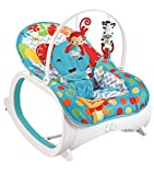 #9: Fiddle Diddle Baby Bouncer Cum Rocker with Vibration Function, Height Adjustment, Calming Music and 2 Toys (Elephant Blue)