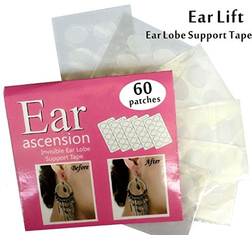 Ohr Ohrläppchen Stützband Sticker Ohrlochschutz - Perfekt für überdehnte Ohrlöcher und verletzte Ohrläppchen 60 Stück
