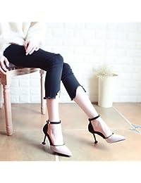 Xue Qiqi Tribunal Zapatos Sandalias Zapatos de Baile Bien con Alto Talón Zapatos Zapatos de Mujer Planos de Punta...