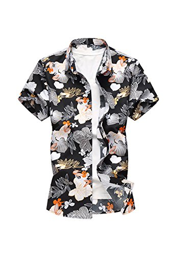 Yacun-Hombres-Camisas-Hawaianas-Floral-De-Manga-Casual-Black-XXL