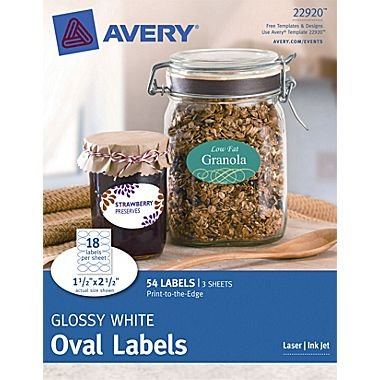 Avery sogar Weiß glänzend oval Etiketten 22920, 1-1/2x 2-1/2Zoll, 54Stück - Avery-etiketten-oval