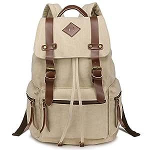iDream - 2014 nouveau sac à dos sac en toile d'épaule pour école hiking camping randonnée voyage etc. - 32cm * 18cm * 43cm - pour ordinateur jusqu'à 14'' (Beige)
