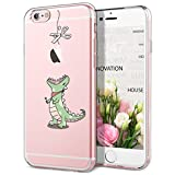 GrandEver Coque iPhone 6s / iPhone 6 Silicone Transparente avec Motif ( Pomme ) Apple Créatif Design Souple TPU Gel Bumper Kawaii Once Piece Antichocs Anti-rayures Ultra Fine Crystal Clear Housse Etui Case Cover pour iPhone 6/6s --- Dinosaure