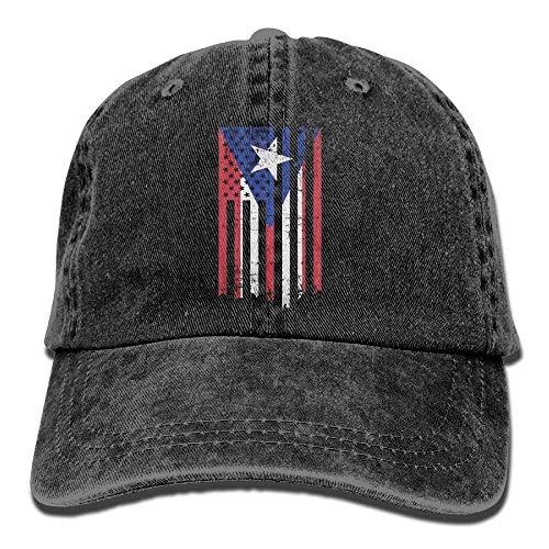 LLALUA Denim Fabric Adjustable Puerto Rico Flag Soft Baseball Cap