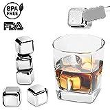 Edelstahl Eiswürfel Ice Cubes Set von Riversong, 8 Wiederverwendbare Whisky Steine mit Zange, Zertifizierung FDA & BPA-frei