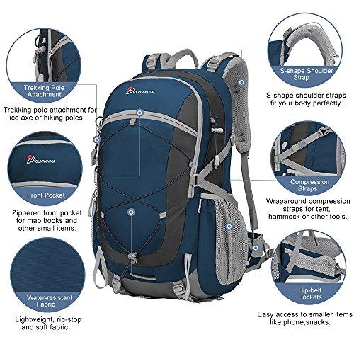 2016 Duhud 40L unisex impermeabile traspirante Zaino di campeggio d'escursione borsa da viaggio zaino �?blu navy