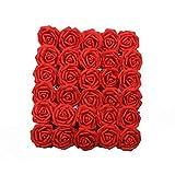 U'Artlines 50 Stück Künstliche Blumen Echt Aussehende Fake Roses W/Vorbau für DIY Hochzeit Blumensträuße Aufsteller Party Baby Dusche Home Office Shop Hotel Supermarkt Dekorationen (Rot)
