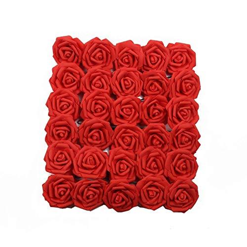 U\'Artlines 50 Stück Künstliche Blumen Echt Aussehende Fake Roses W/Vorbau für DIY Hochzeit Blumensträuße Aufsteller Party Baby Dusche Home Office Shop Hotel Supermarkt Dekorationen (Rot)