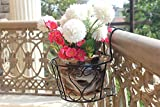 #3: Set of 5: NAYAB | Black Iron Art Hanging Baskets Flower Pot Holder Plant Stand without pots / Metal Iron Wall Planter Indoor/Outdoor For railing Fence Balcony Garden Home Decoration