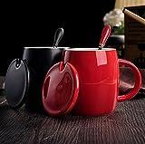 VERCART Tasse Amoureuse Mug et Bon Ami Pocelaine à Café Thé Couleur Unie avec Couvercle et Cuillère 2 Lots Noir Rouge
