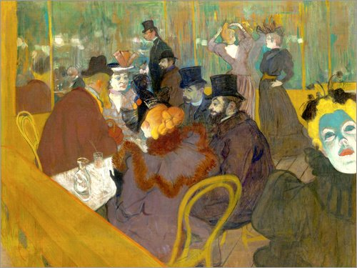 Posterlounge Acrylglasbild 160 x 120 cm: Im Kabarett von Henri de Toulouse-Lautrec - Wandbild, Acryl Glasbild, Druck auf Acryl Glas Bild