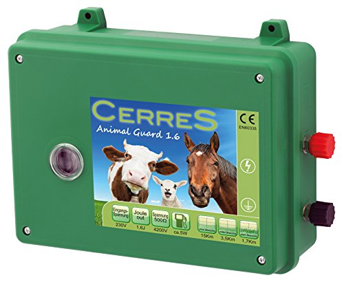 CERRES Weidezaungerät Elektrozaungerät 9V 230V Animal Guard 1,6 - 3,0 - 3,6 Joule, sehr schlagstark, robust und witterungsbeständig, zur Wildabwehr, für Schafe, Pferde- und Rinderweiden (1,6 Joule)