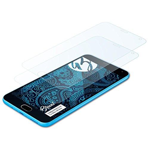 Bruni Schutzfolie für Meizu M2 Note Folie, glasklare Bildschirmschutzfolie (2X)