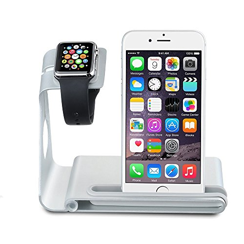 VTin Dual Stand para Apple Watch/ Soporte de Aleación de Aluminio para iPhone y Apple Watch/ Plataforma de Cargar para Apple Watch & iPhone