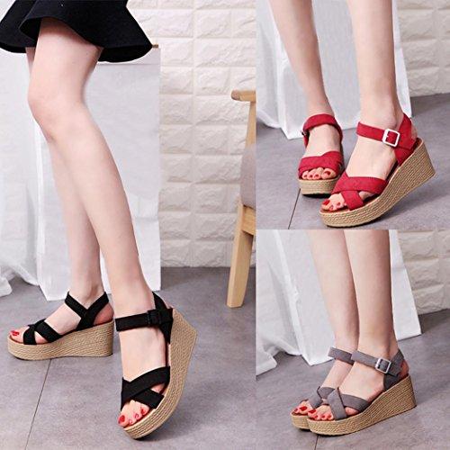 Transer ® Femmes été sandales Peep-toe Low Chaussures Suede sandales tongs Rouge