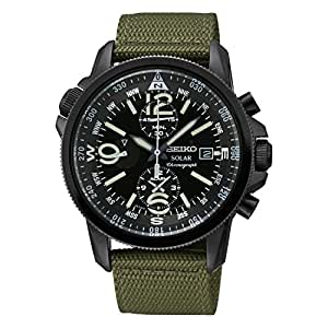 Seiko - SSC137P1 - Solar - Montre Homme - Automatique Chronographe - Cadran Noir - Bracelet Tissu Vert