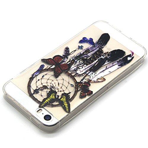 iPhone 5 5S 5SE Hülle,BONROY® Muster TPU Case SchutzHülle Silikon Case Tasche Weiches Transparentes Silikon Schutzhülle Malerei Muster Ultradünnen Kratzfeste Tasche Schutzhülle Hülle Case Cover Etui T Schmetterling Campanula