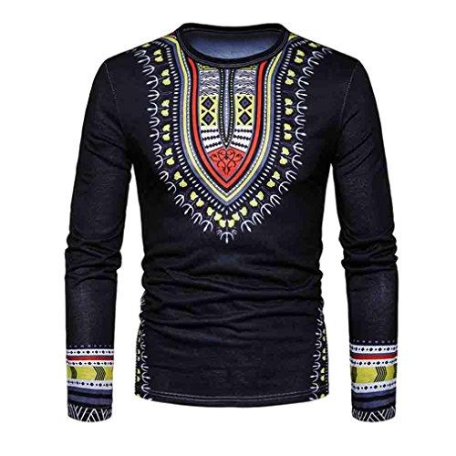 Shirt Herren,Binggong Männer Casual African Print O-Ausschnitt Reizvolle Pullover langärmelige T-Shirt Elegant Top Freizeit Bluse Stilvoll Hemd Mode Bekleidung (Schwarz, L) -